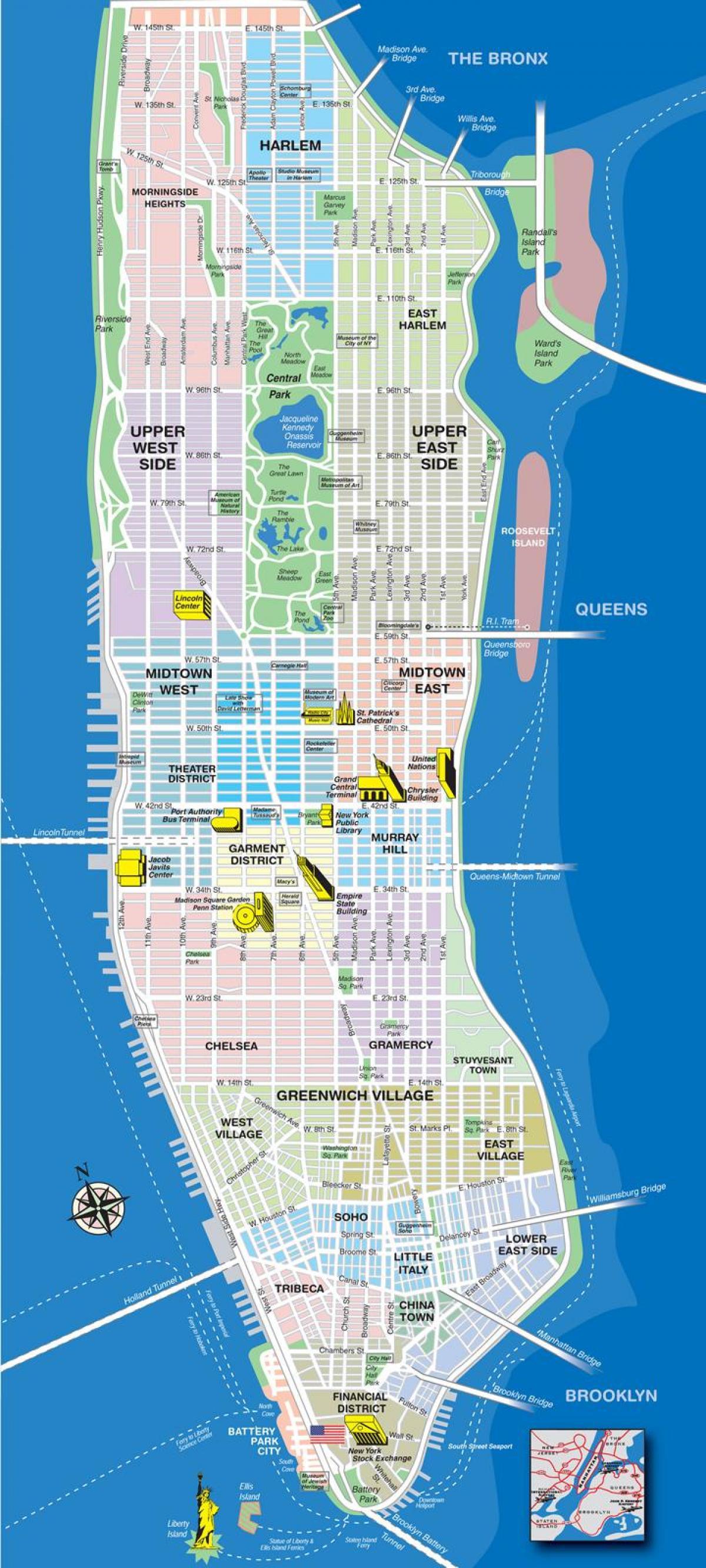 Kort Af Manhattan Hverfum Med Gotum Kort Af Efri Manhattan