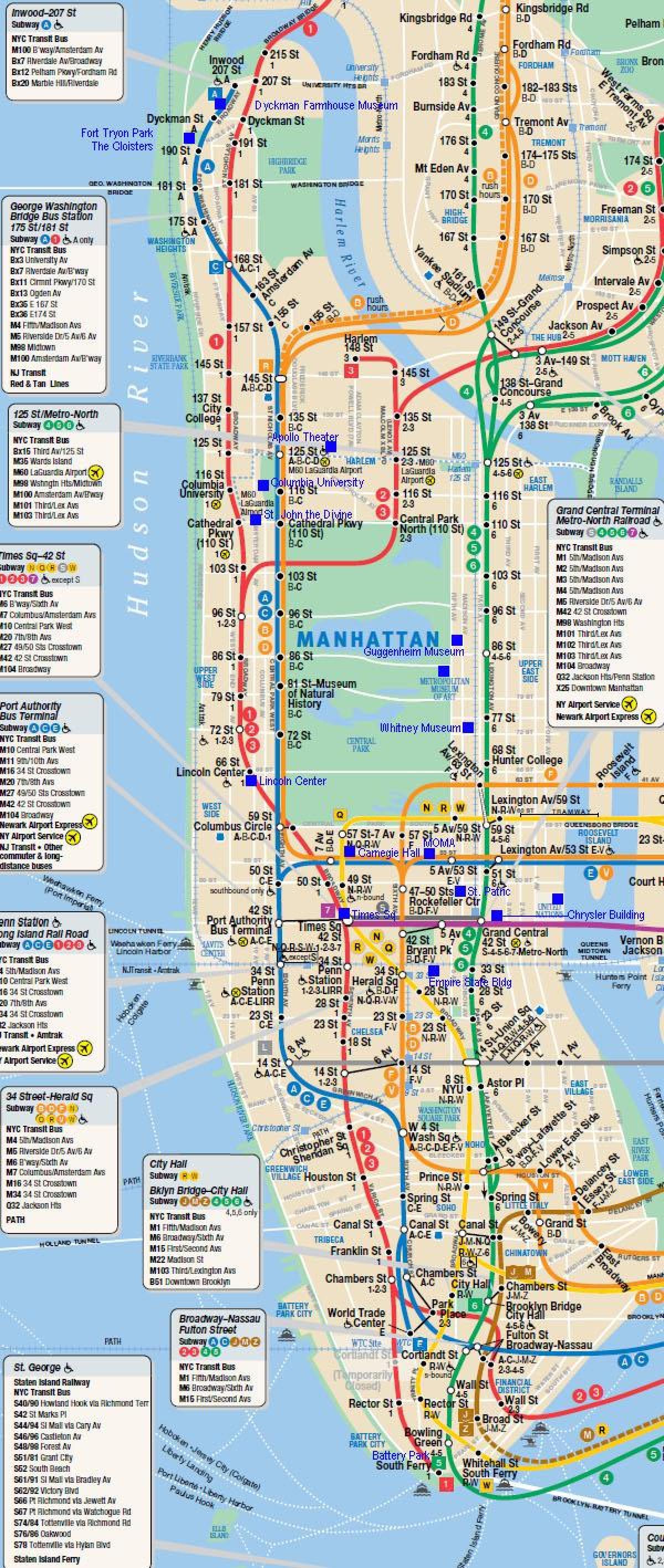 Manhattan Lest Kort Manhattan Jarnbrautum Kort New York