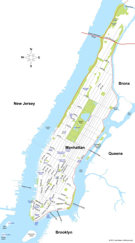 New York Kort Manhattan Kort Af Manhattan New York New York
